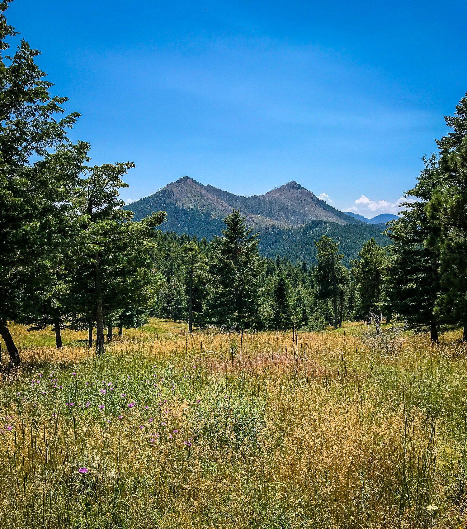 Twin peak mountains seen during Boulder hikes