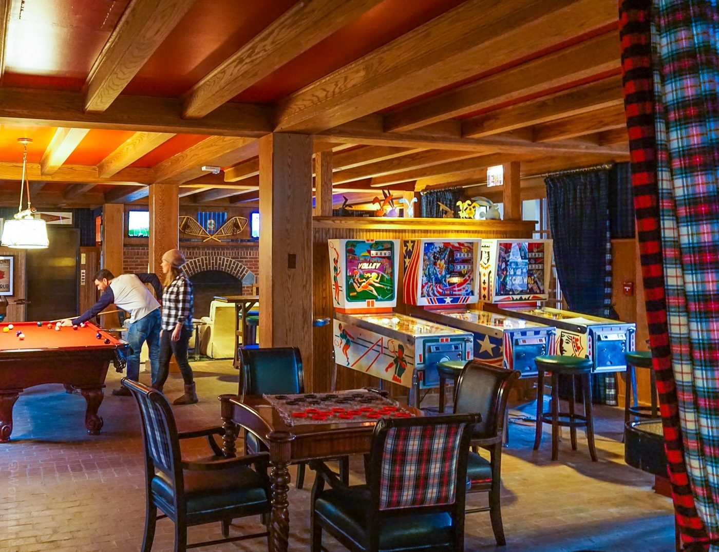 The cozy Game Room at the Woodstock Inn.