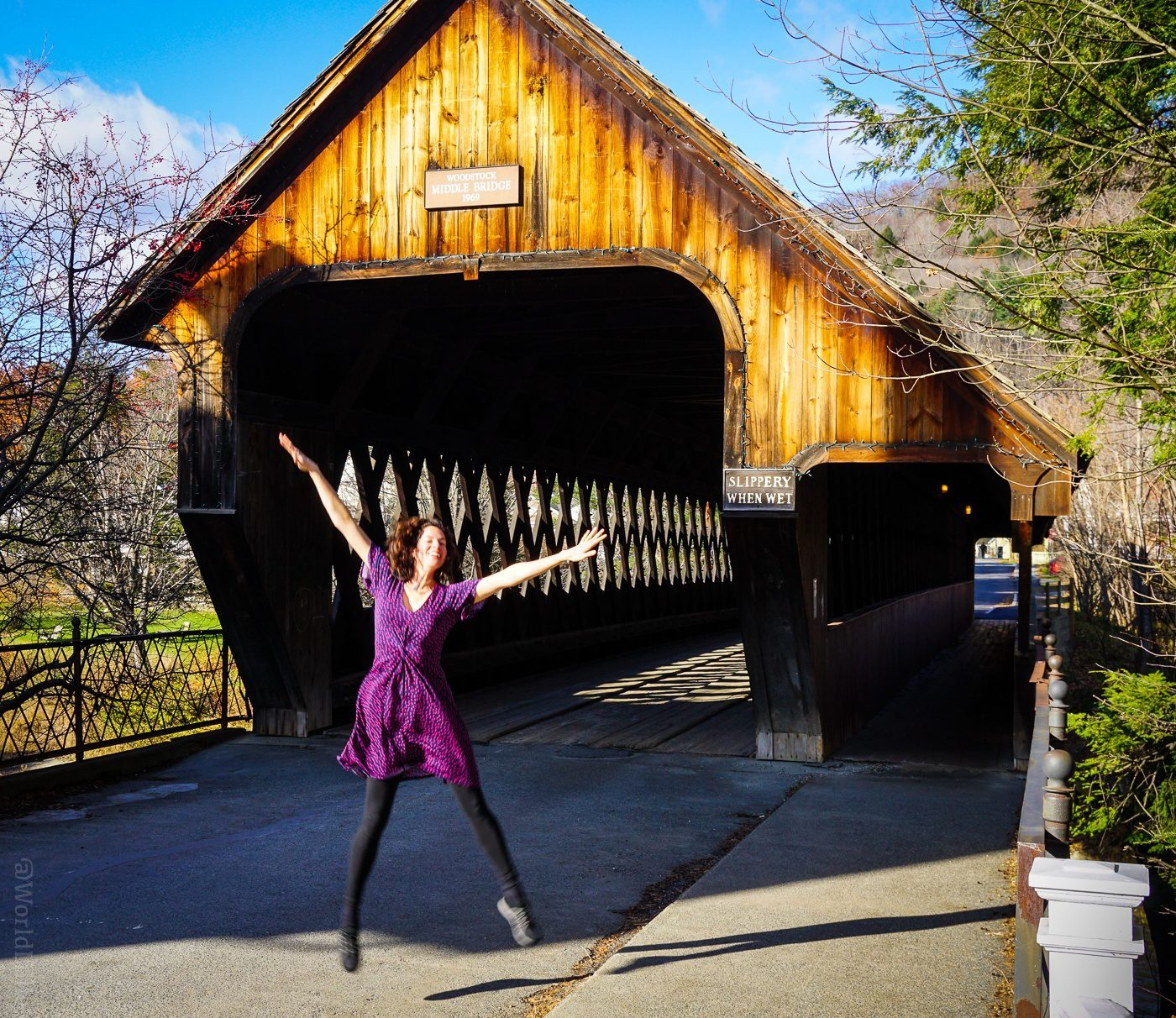 The covered bridge right in Woodstock, Vermont.