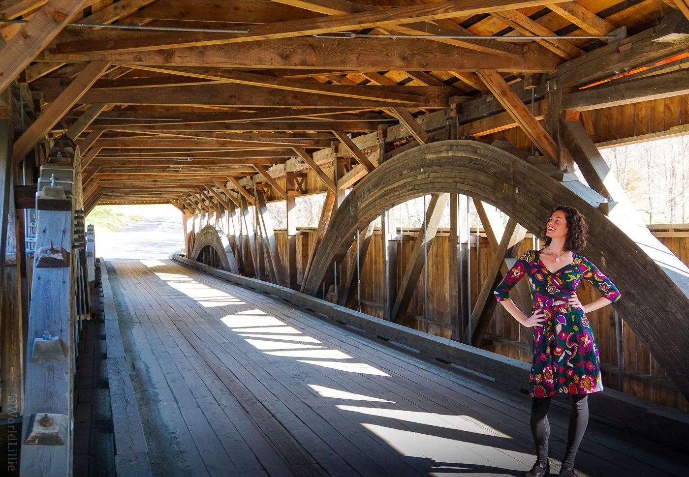 Inside the Taftsville covered bridge near Woodstock, VT.