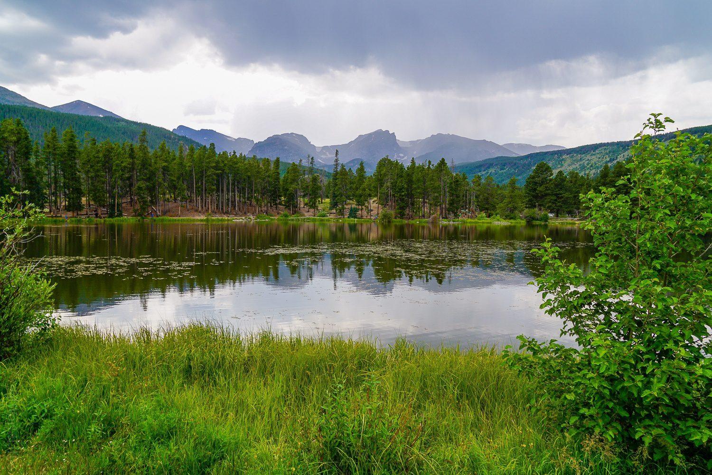 Sprague Lake in the Colorado mountains of RMNP