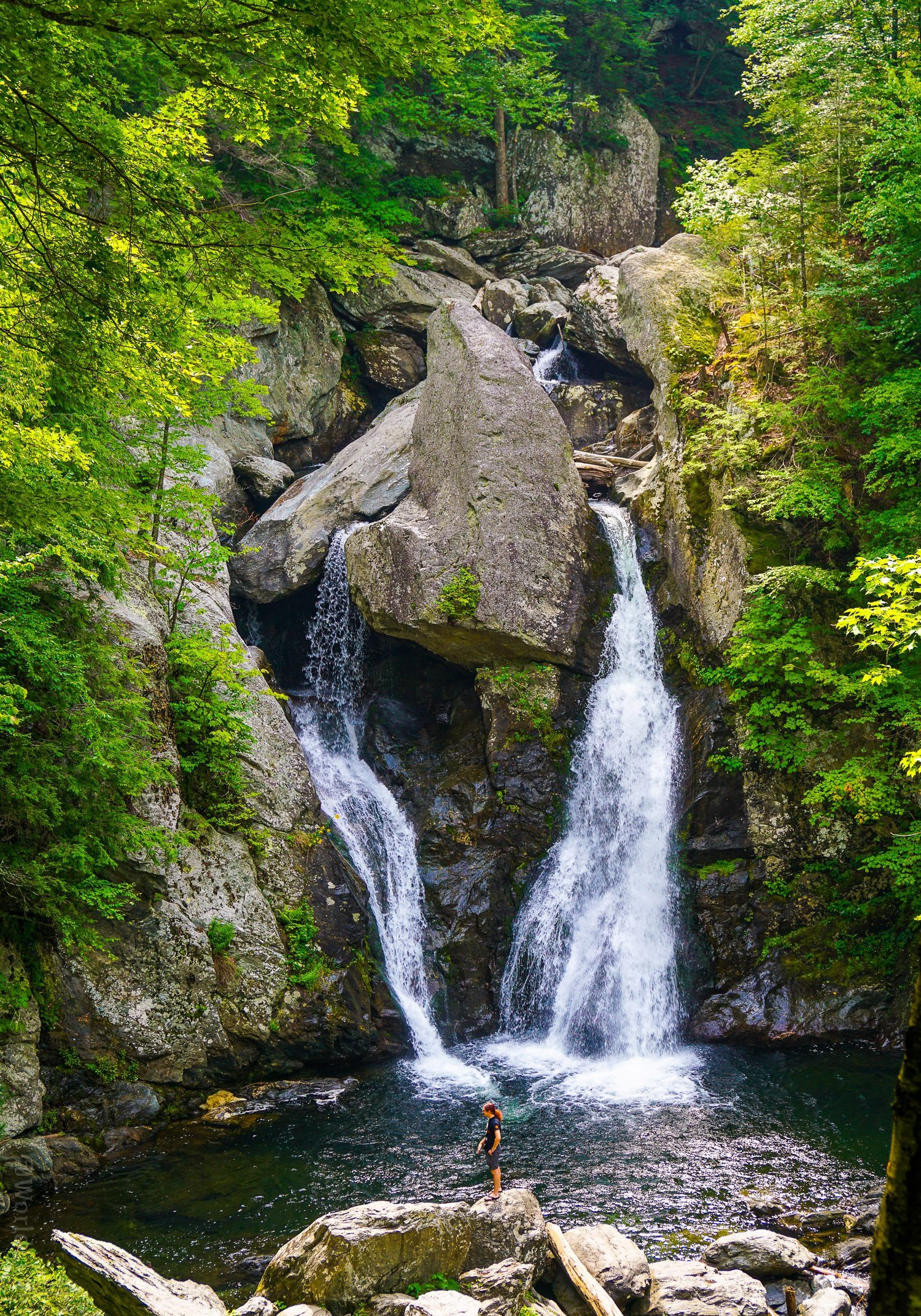 Bash Bish Falls is a great day hike in New England. Advice on hiking the Berkshires, MA side vs. Taconic State Park, NY. Highest waterfall in Massachusetts!