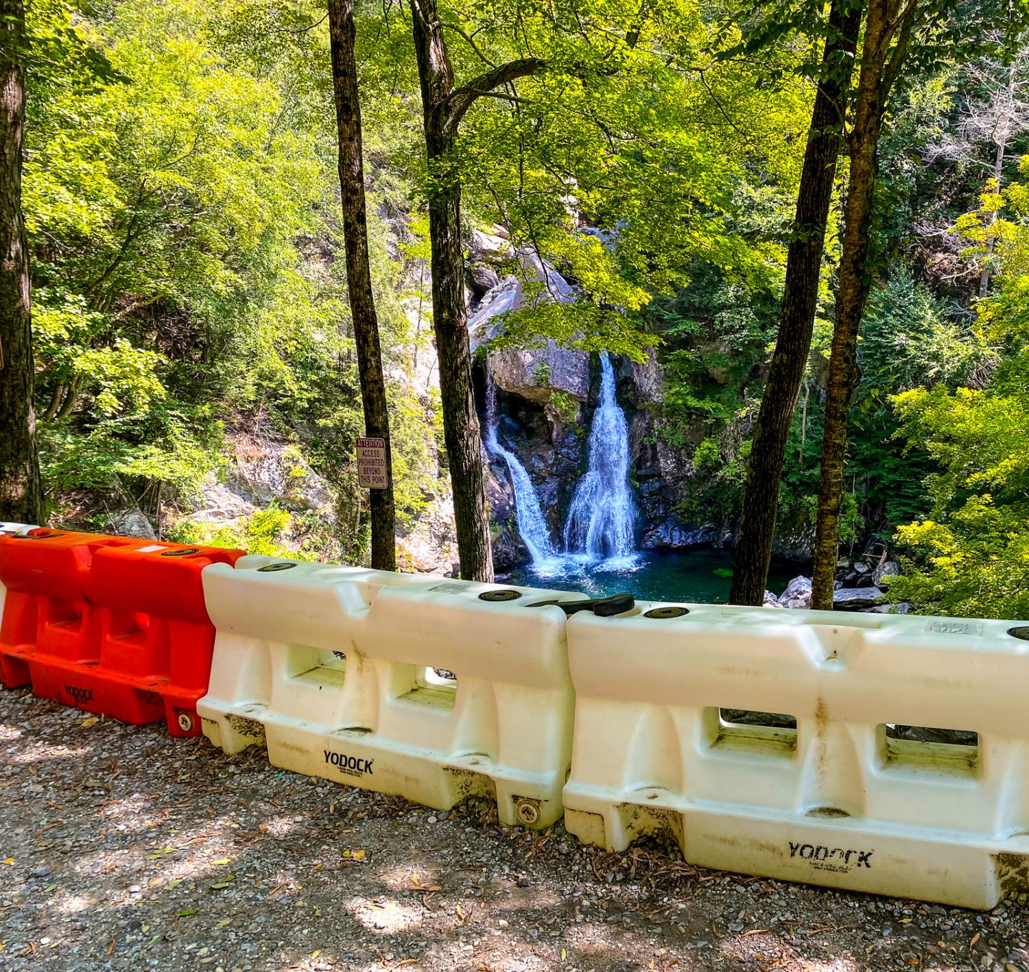 Barriers now block access to touch Bash Bish Falls.