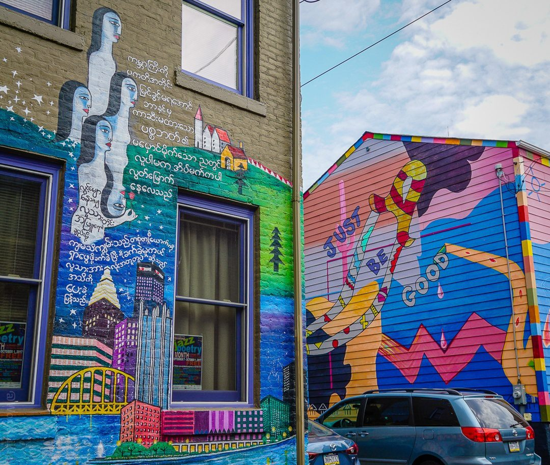 A brightly painted house in Pittsburgh's City of Asylum.