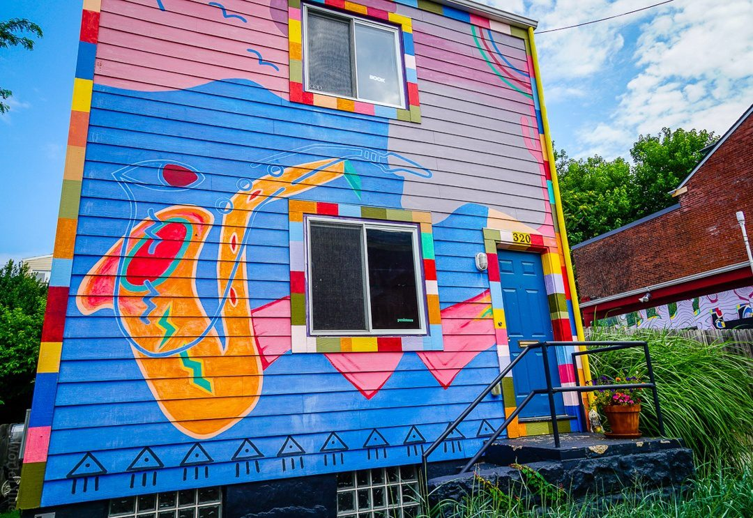 A saxophone painted house in City of Asylum, Pittsburgh.