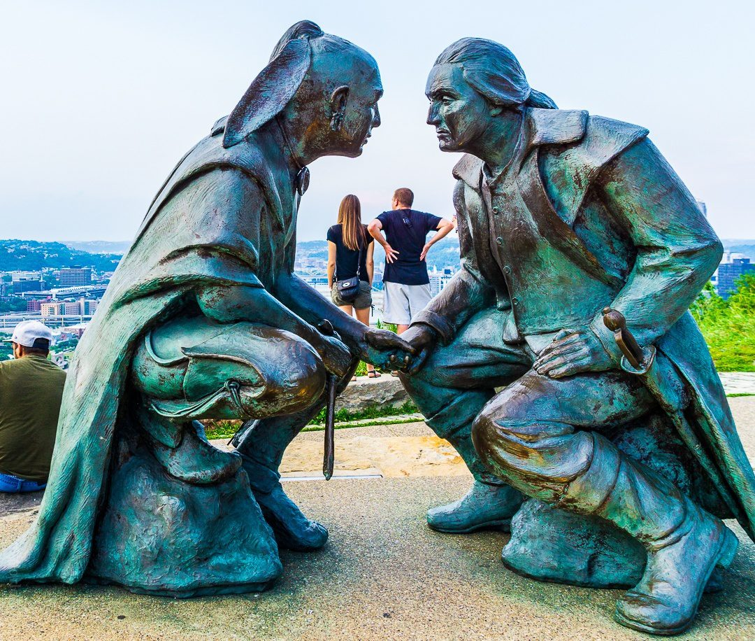 """The famous Pittsburgh """"Point of View"""" sculpture of Washington and the Seneca leader, Guyasuta."""