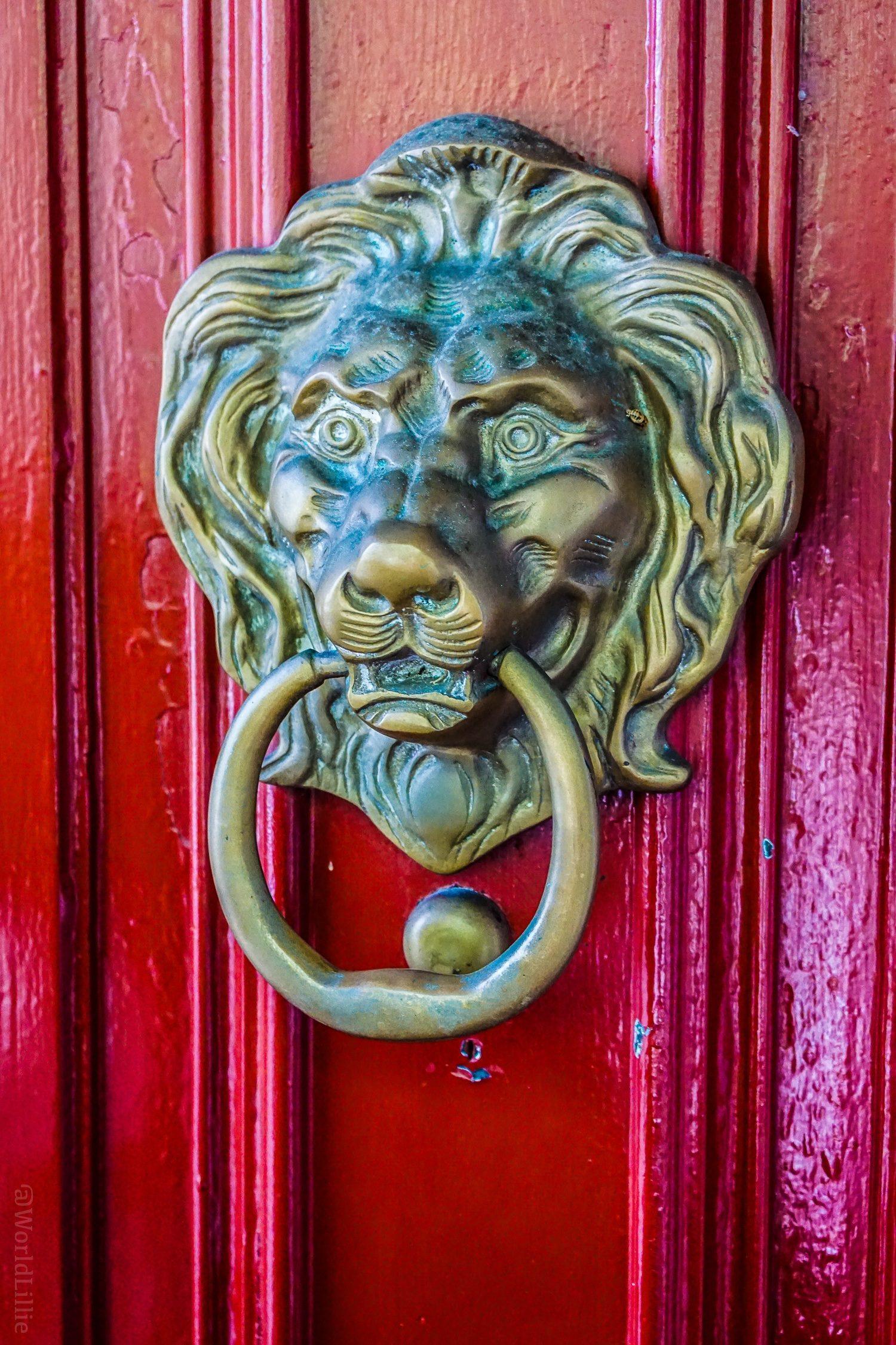 The lion door knocker at the Red Lion Inn, Stockbridge, MA.