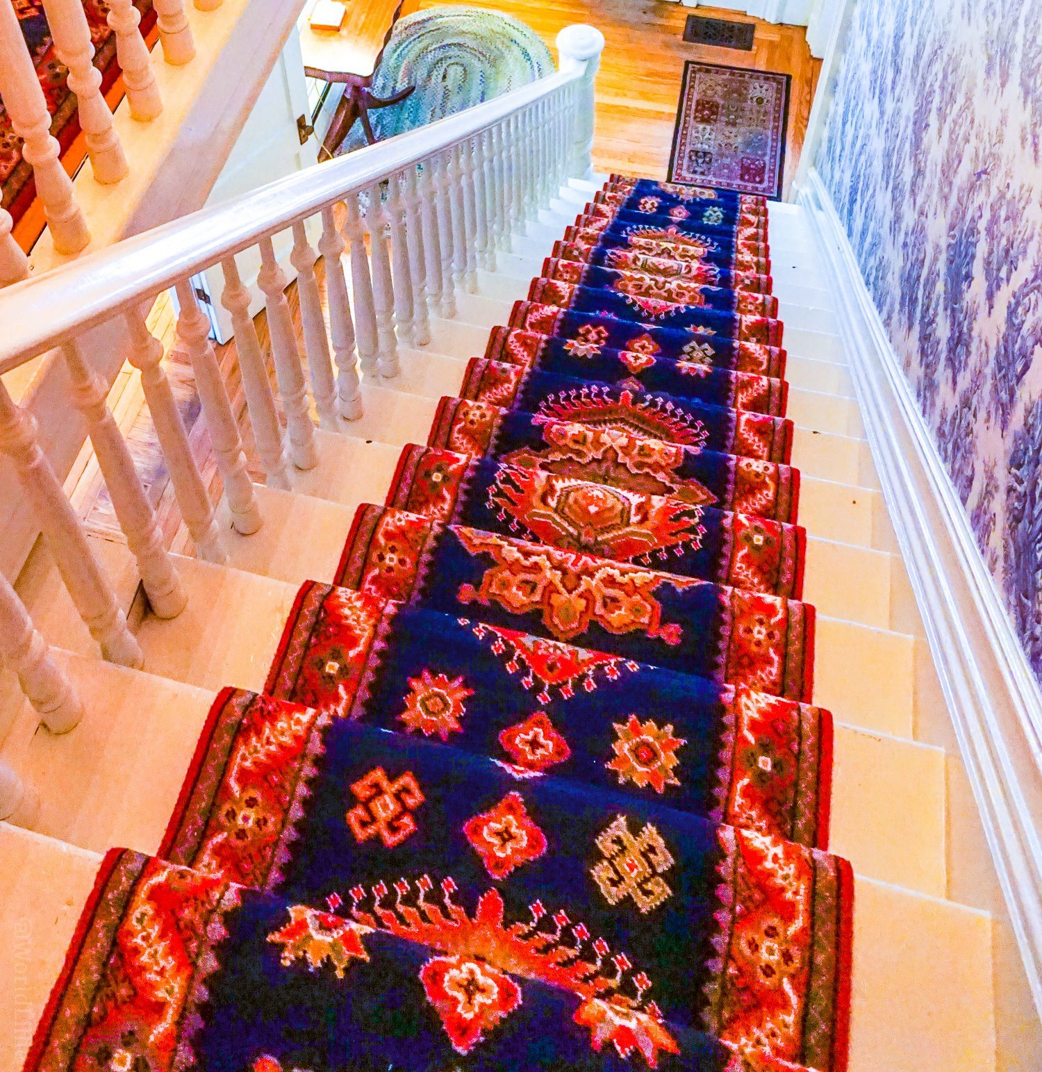 Antique hotel carpets an staircase at the Red Lion Inn