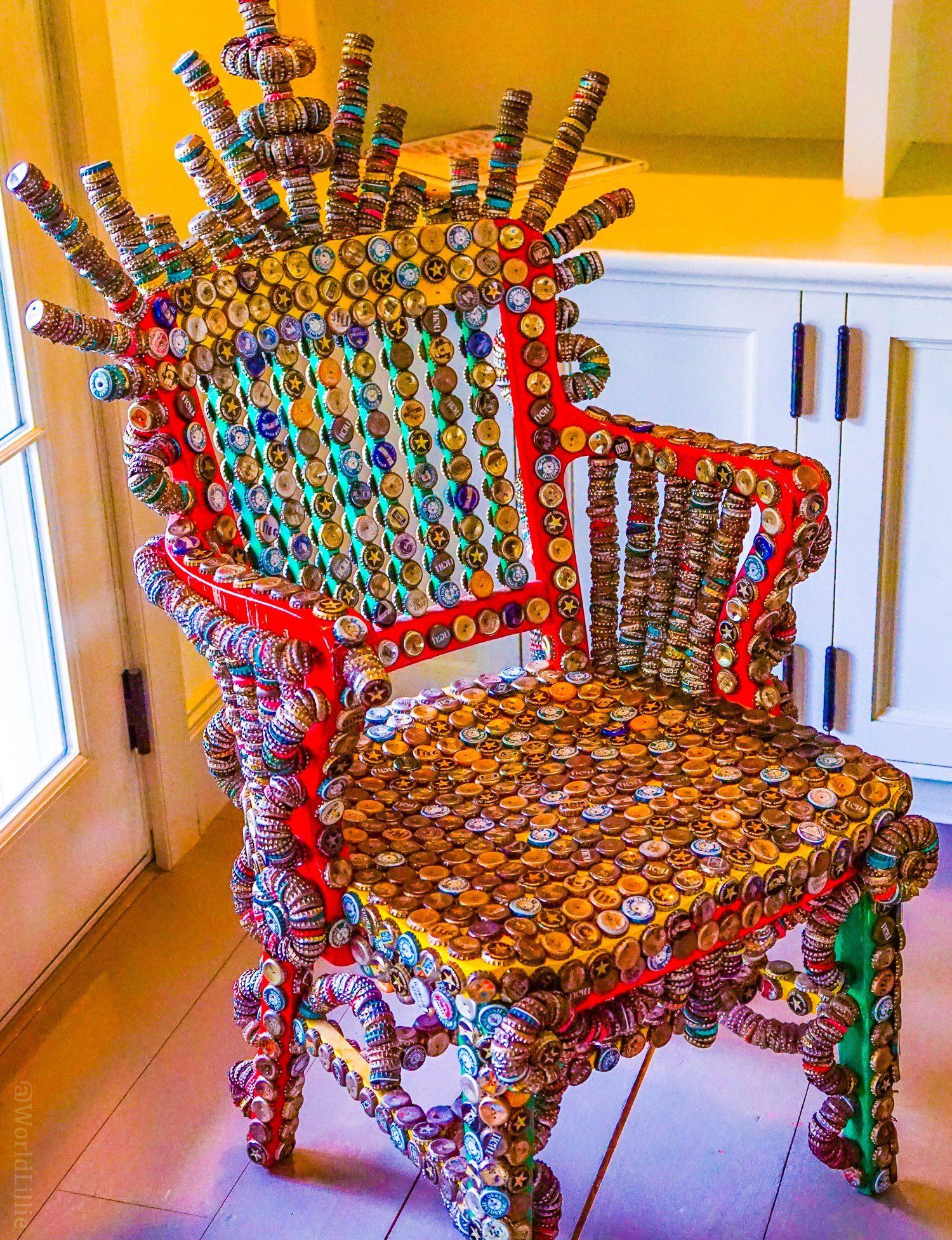 Bottle cap art: Modern art chair from recycled materials at the Red Lion Inn.