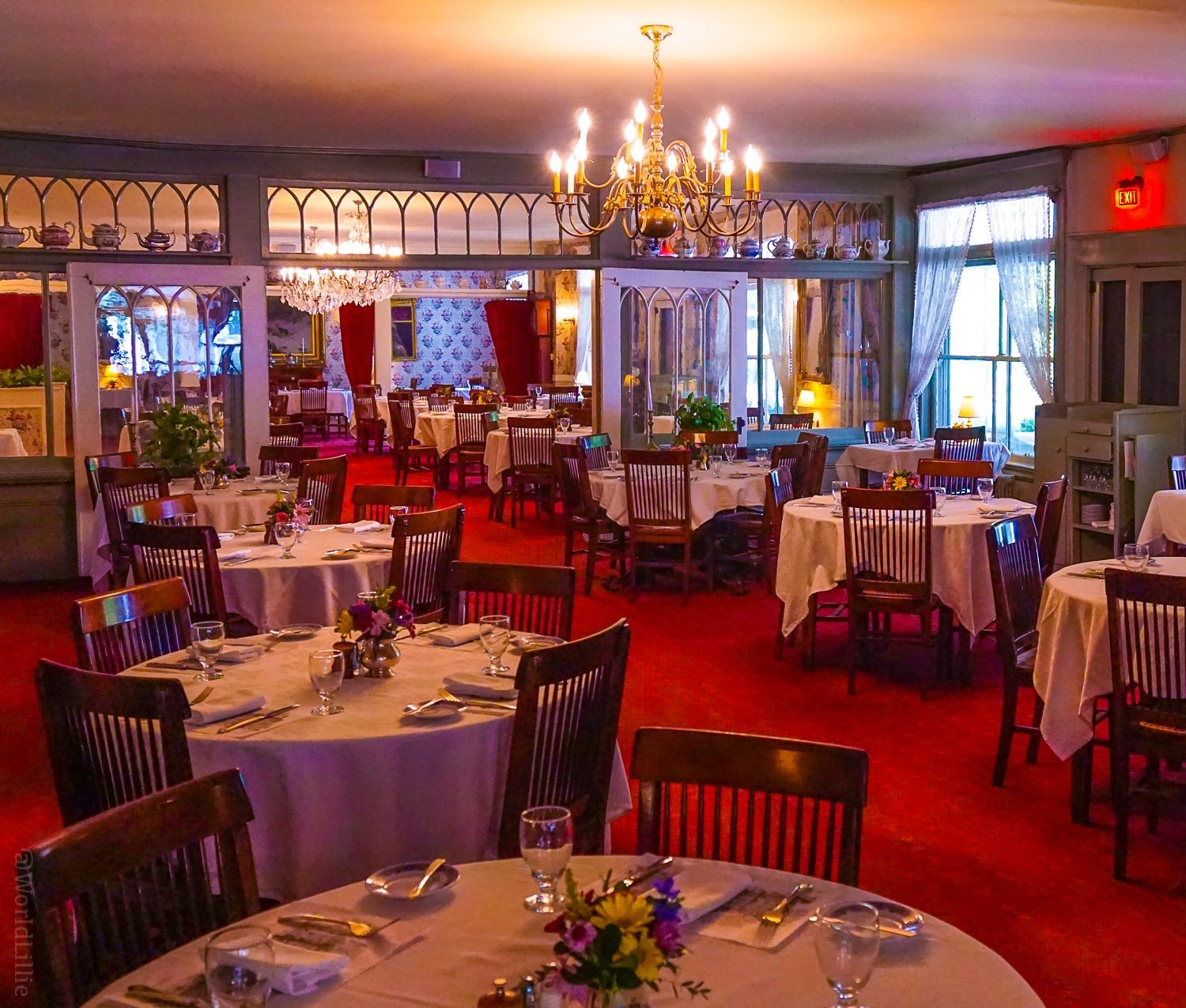 Red carpet in the Main Dining Room of the Red Lion Inn, Stockbridge, MA with chandeliers!