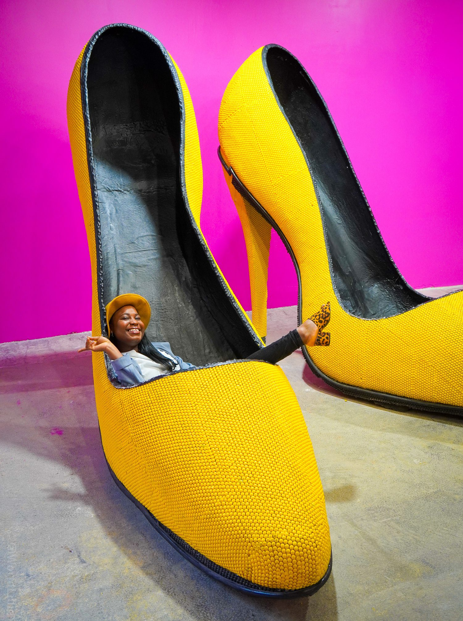 """6-foot-tall stiletto heel: The best influence synonym is not what you think! Explore positive and negative at a wild Boston influencer marketing tour of """"Happy Place"""" pop-up photo spot, along with a discussion of whether picture playgrounds are worth it!"""
