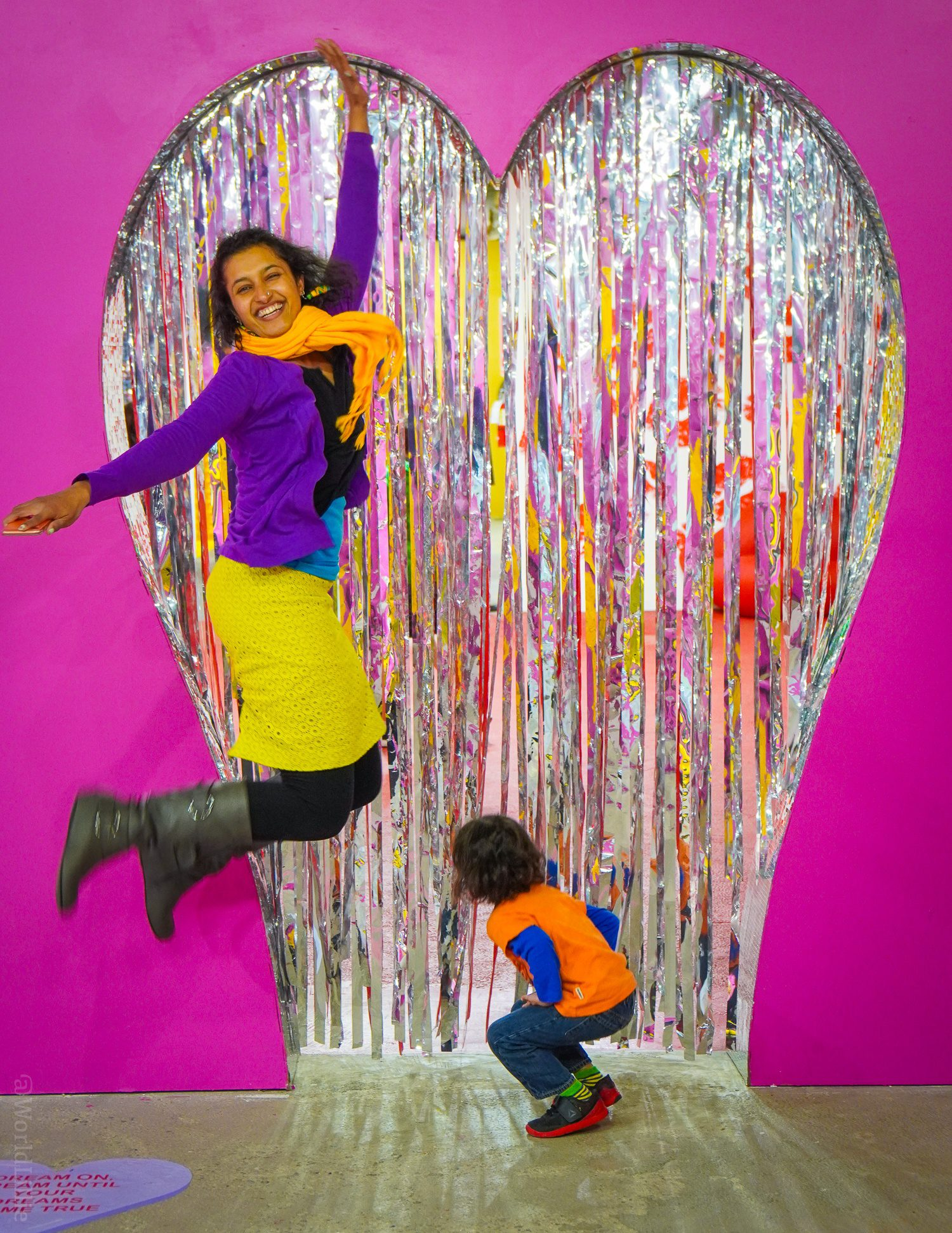 Jumping for joy at the photo playground pop-up of Happy Place!