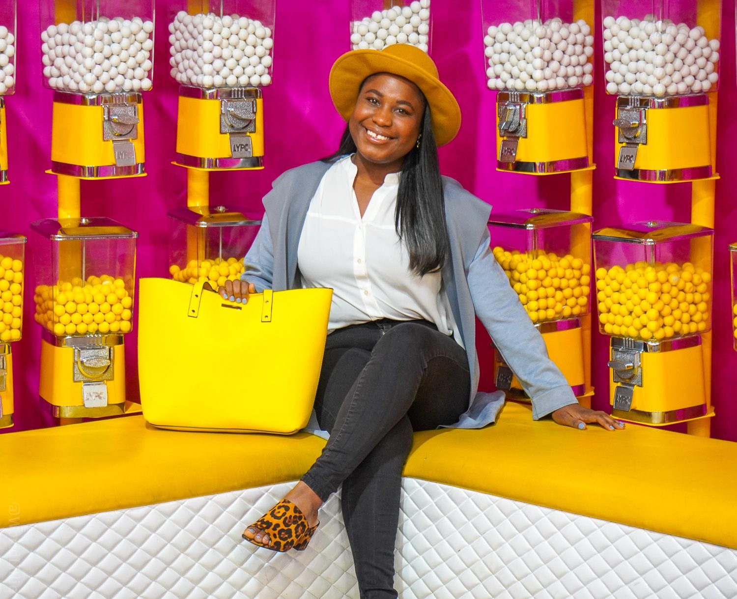 Influencer synonym question, and a color pop of delight in the Happy Place candy room!