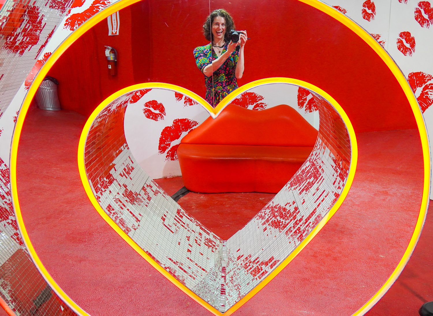 Shiny heart sculpture with mirror at Happy Place Boston influence synonym search
