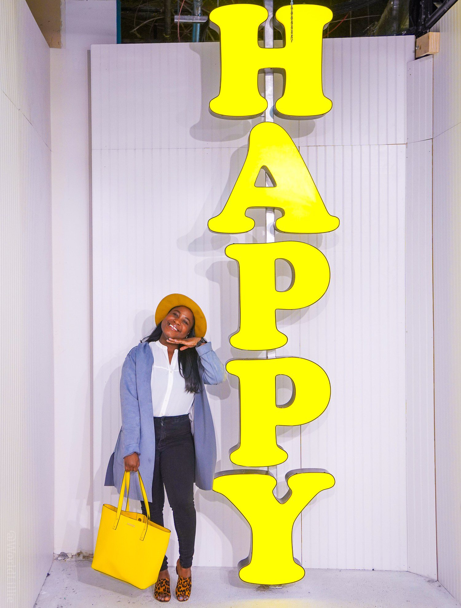 HAPPY sign and influence synonym at Boston Happy Place photo pop-up installation