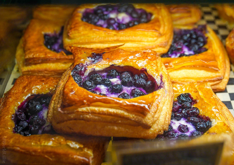 A buttery, flaky blueberry tart.