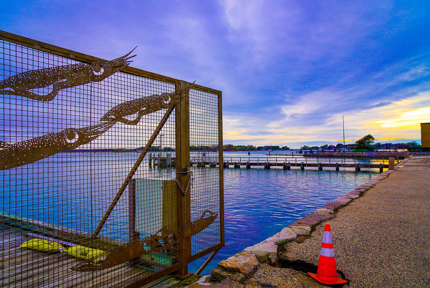 The Woods Hole waterfront walkway.