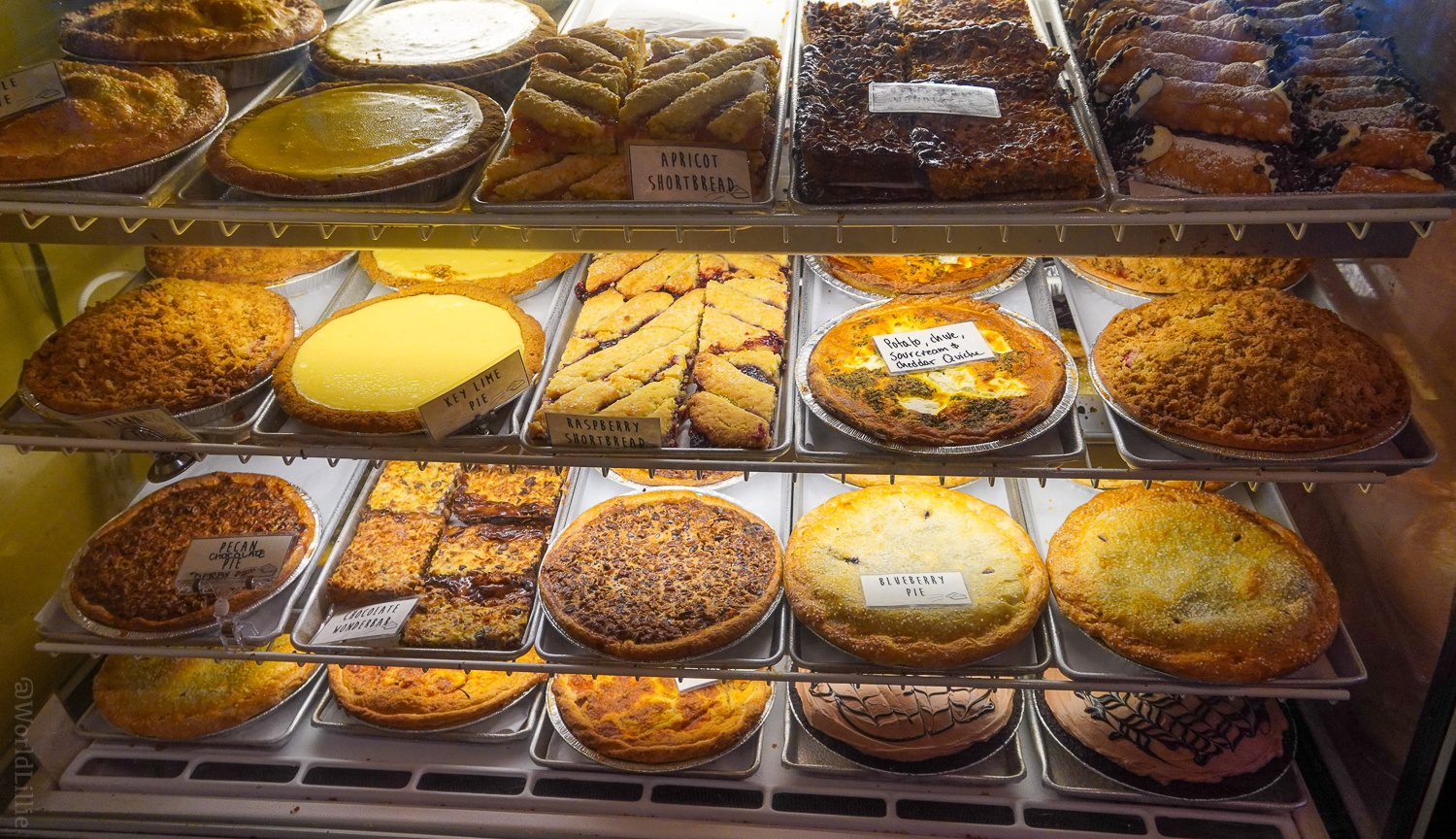 Savory and sweet baked goods (pie!) at Pie in the Sky Bakery in Woods Hole.
