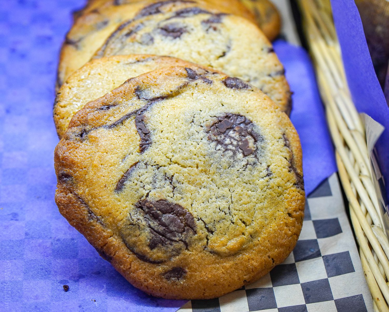 A chocolate chip cookie close-up at Maison Villatte.