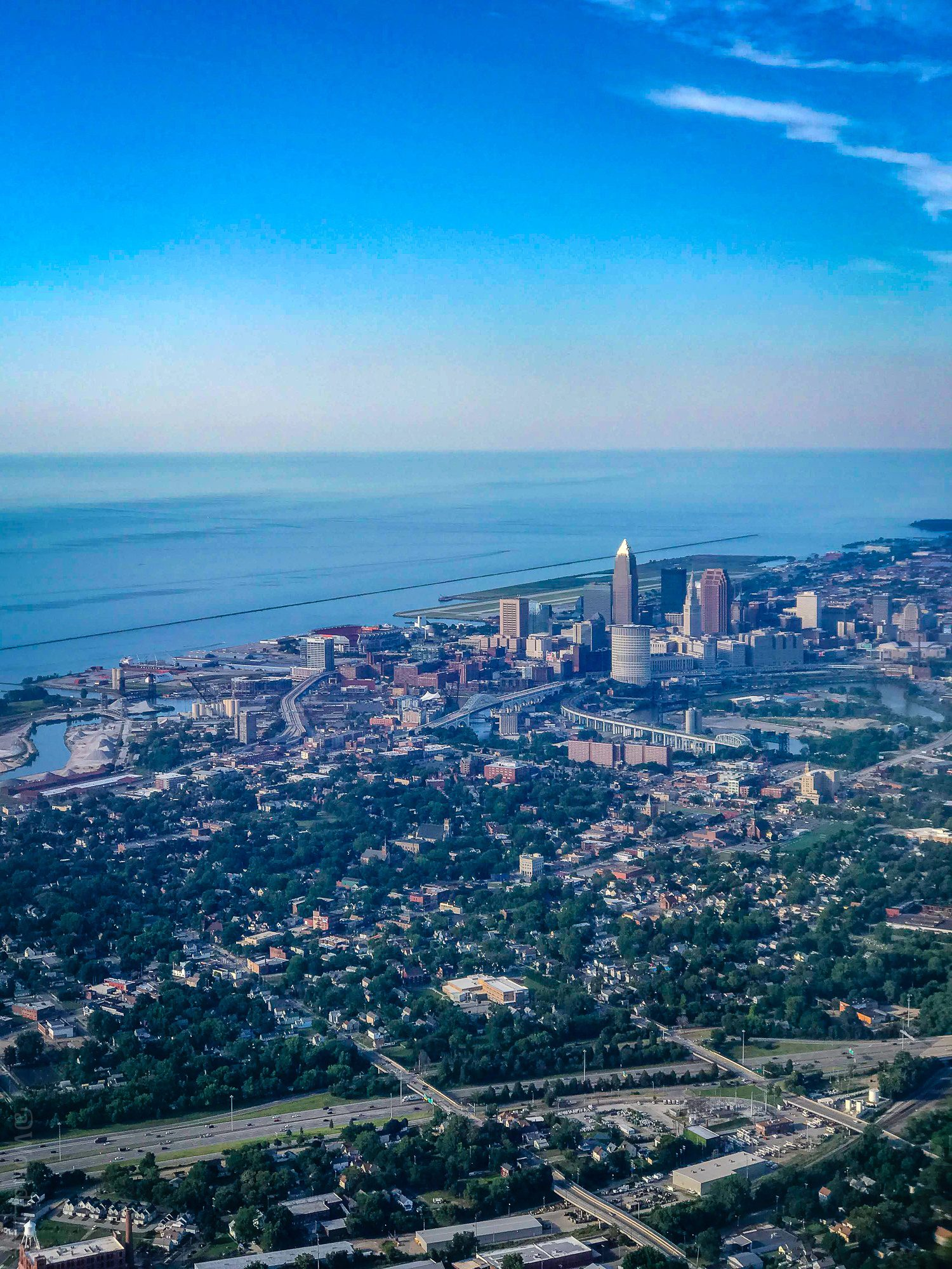 My plane coming into Cleveland, Ohio during a short trip.