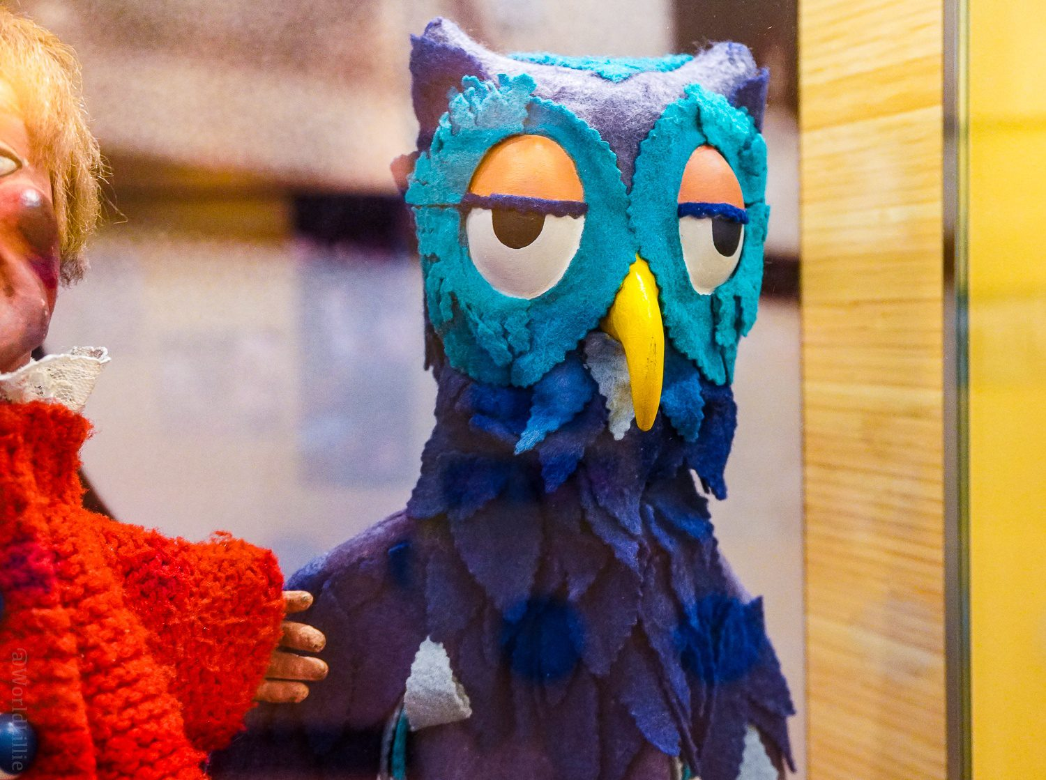 """The """"X the Owl"""" puppet."""