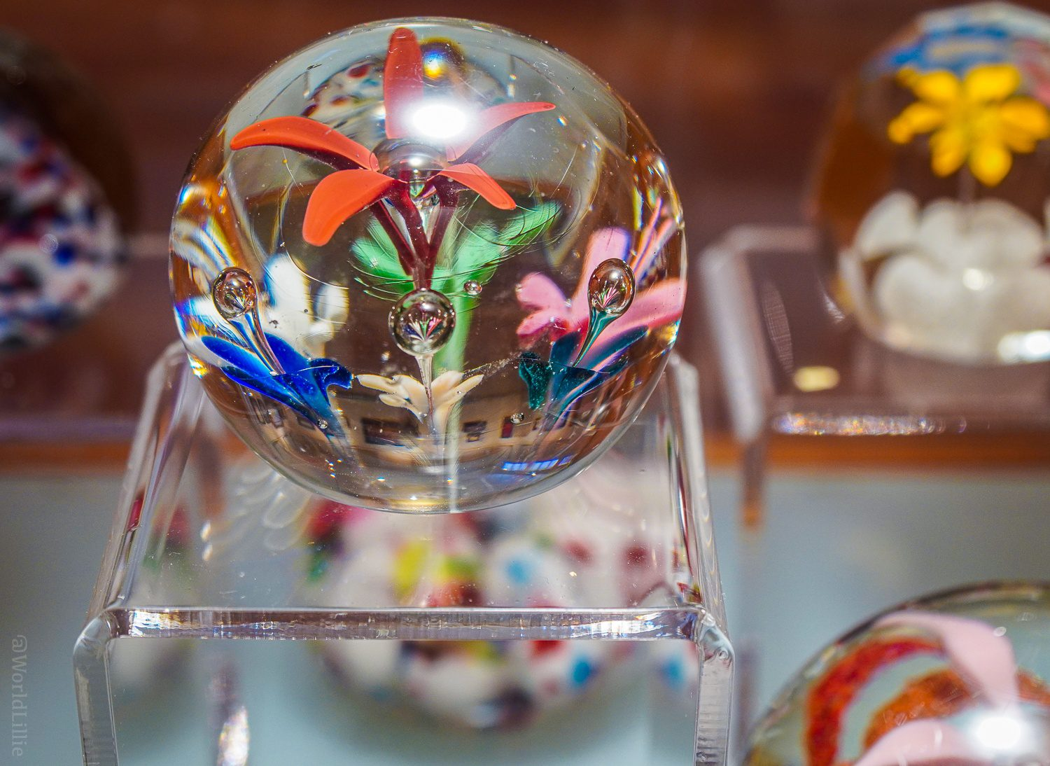 Flowers and bubbles in glass paperweights