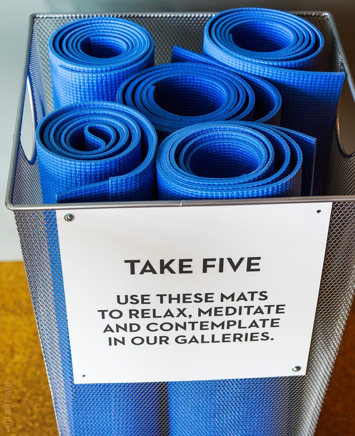 Yoga mats to relax in an art museum