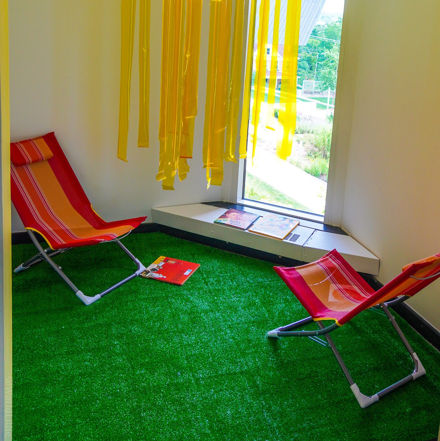 """An indoor """"beach lawn reading"""" room in the WMAA."""