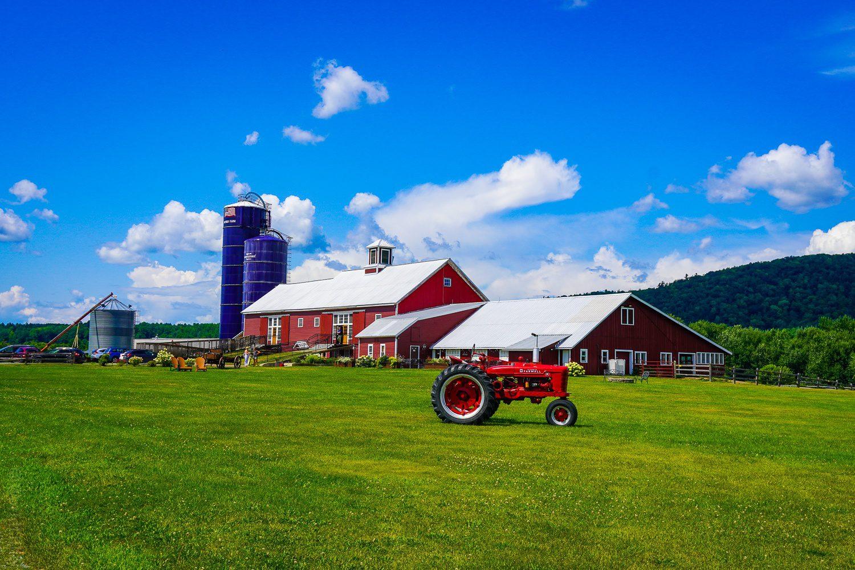 Barn tractor scenic farm wedding venue