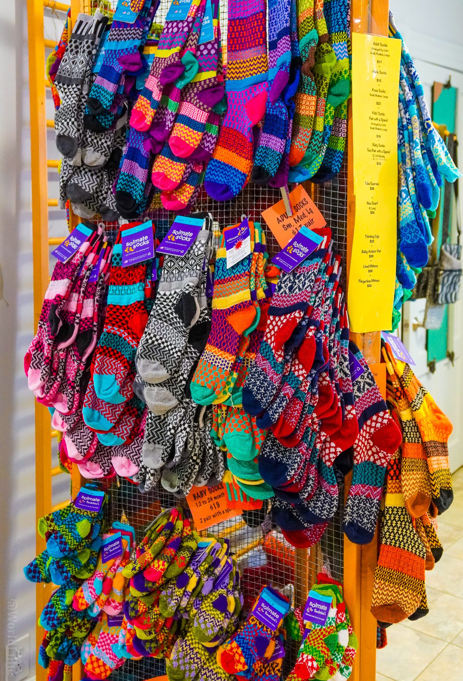 These bright socks are a Main Exhibit best-seller.