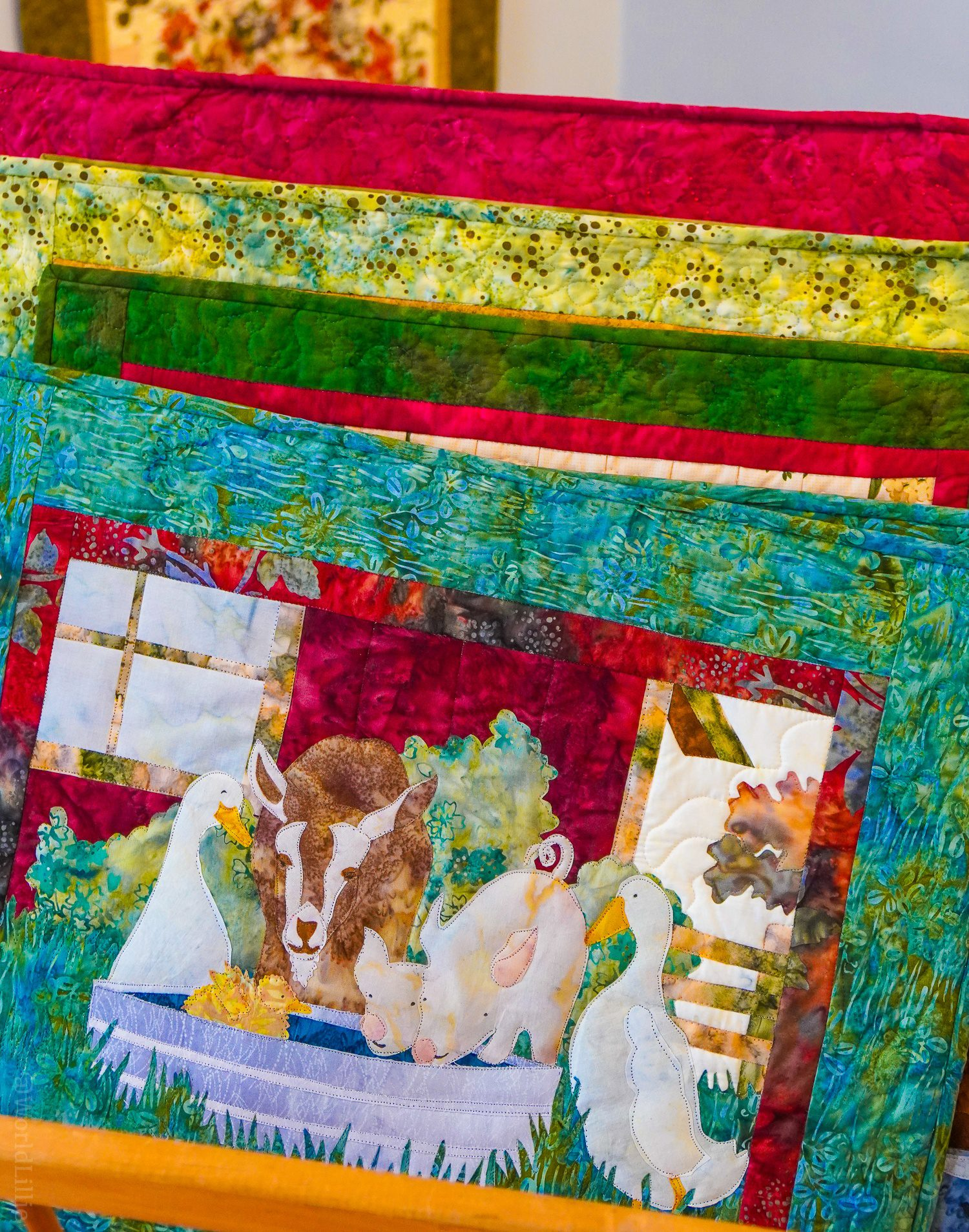 A hand-sewn quilt.