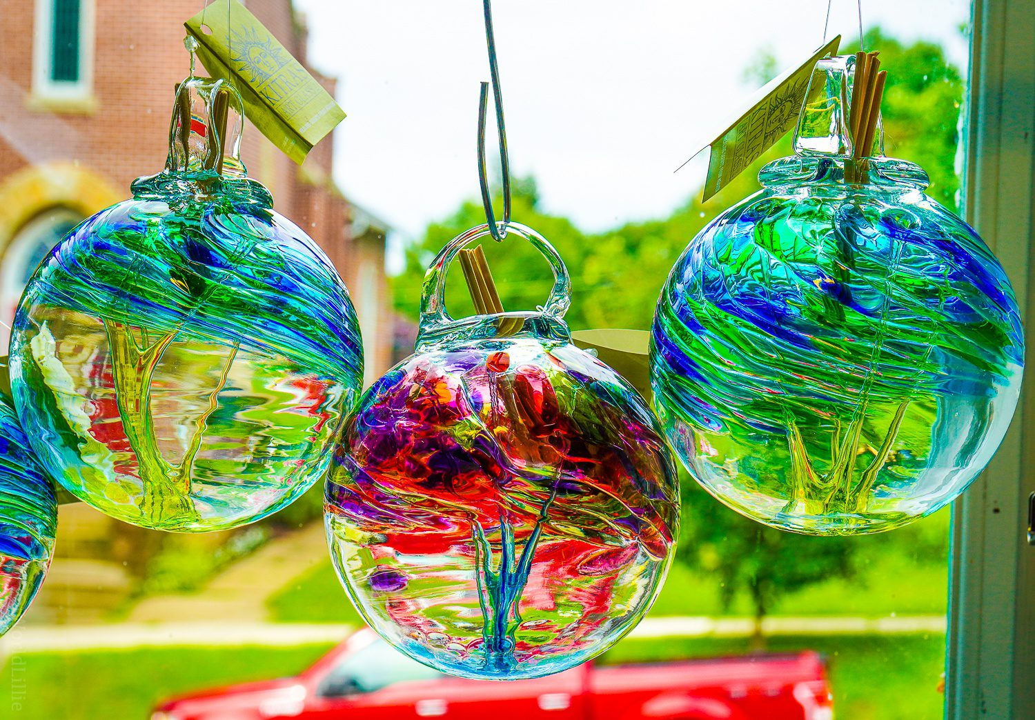 Glass ornaments by the window.