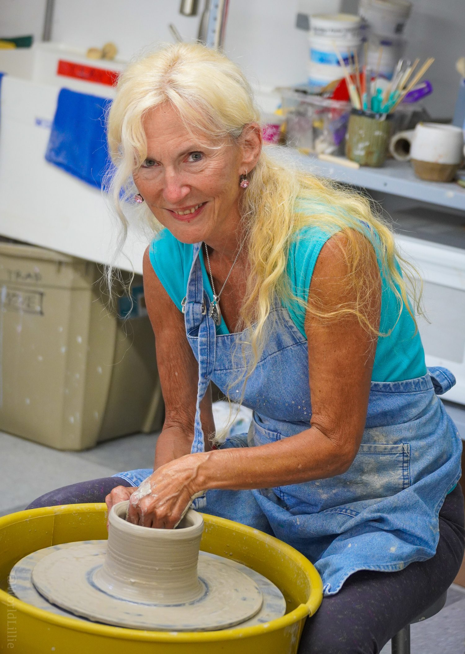 Alexis offers pottery classes in the lower floor.