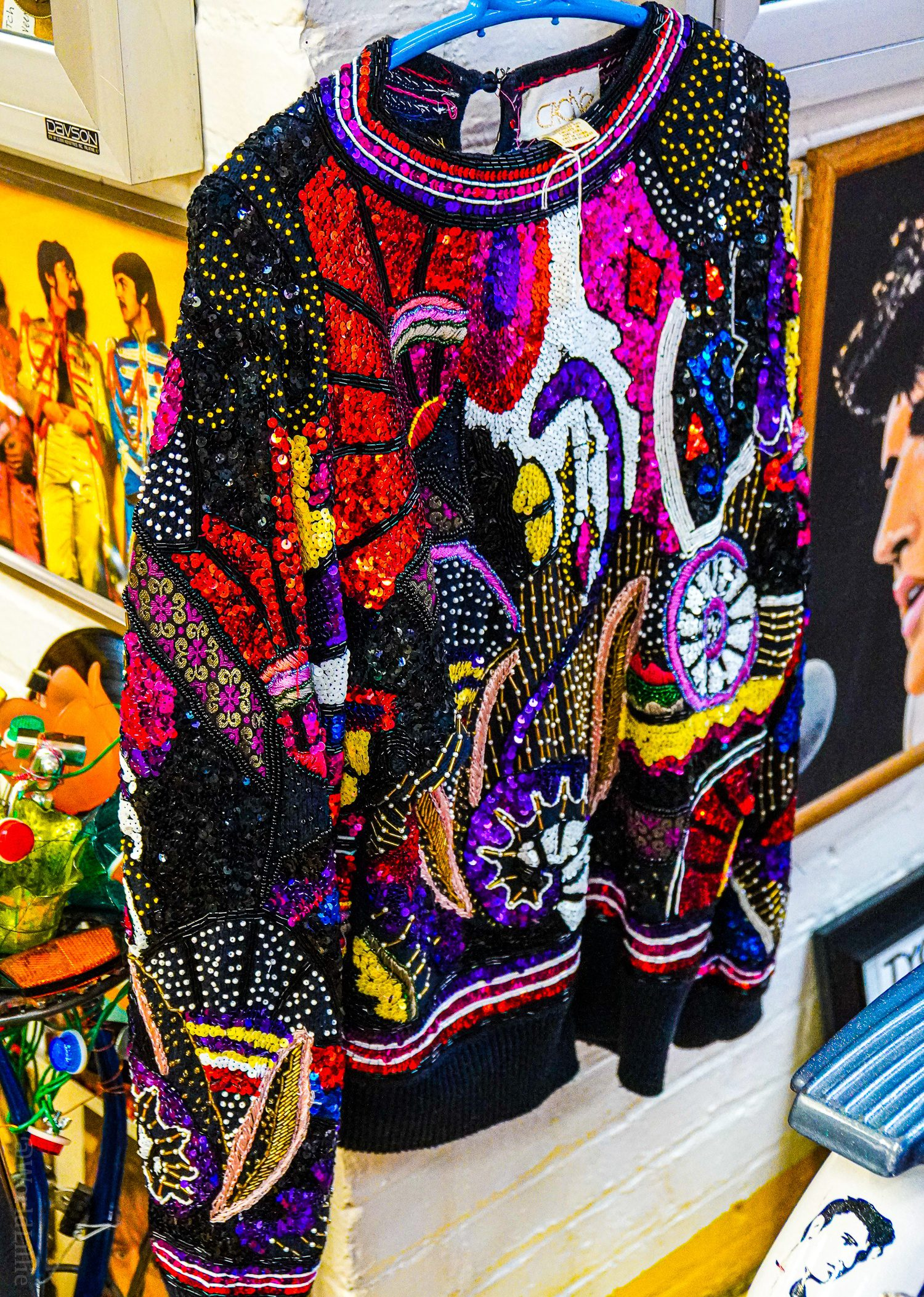 A vintage sequined sweater.