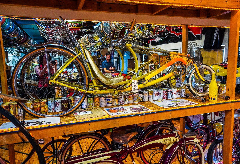 Beautiful yellow bike.