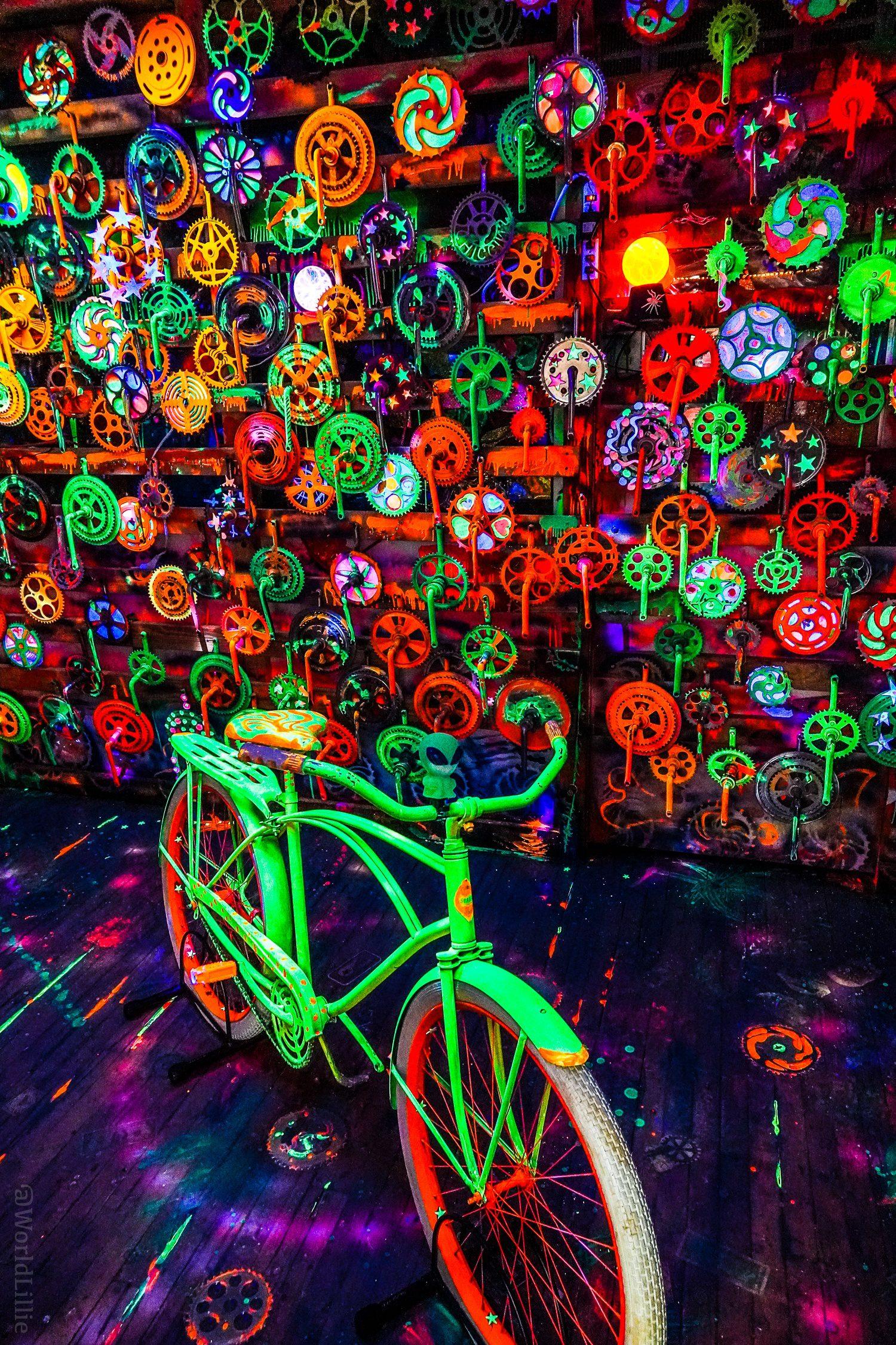 Glow-in-the dark bike room at Bicycle Heaven!