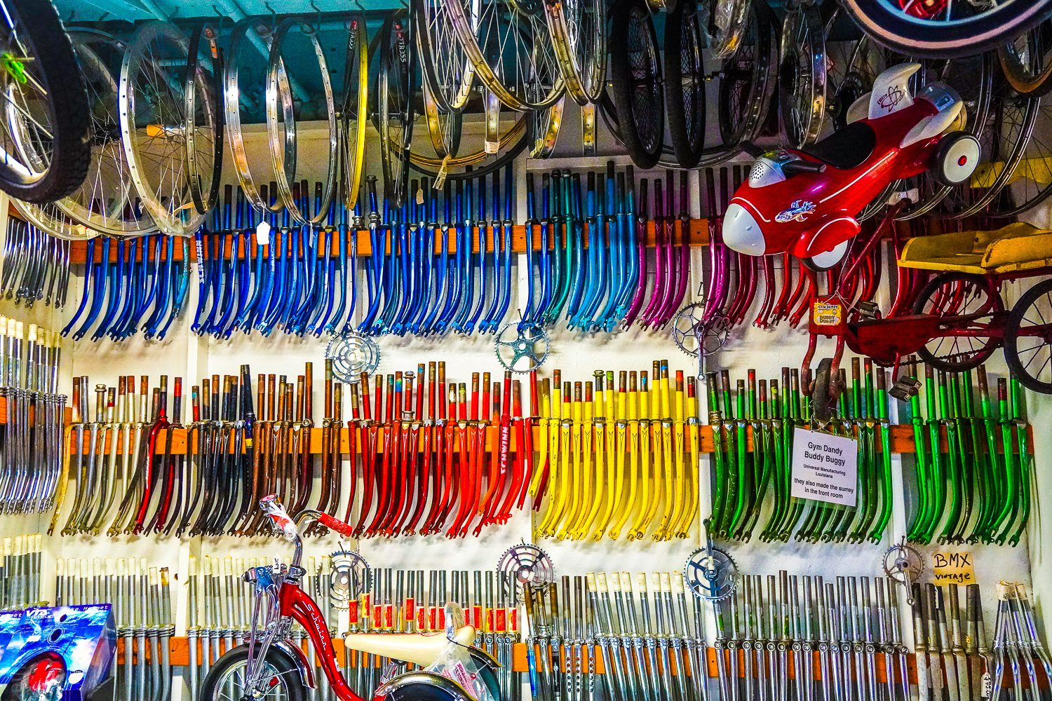Bike parts in candy colors.