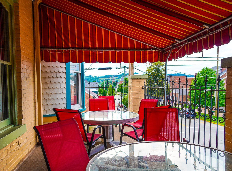 The beautiful upstairs patio at the Ligonier Tavern.