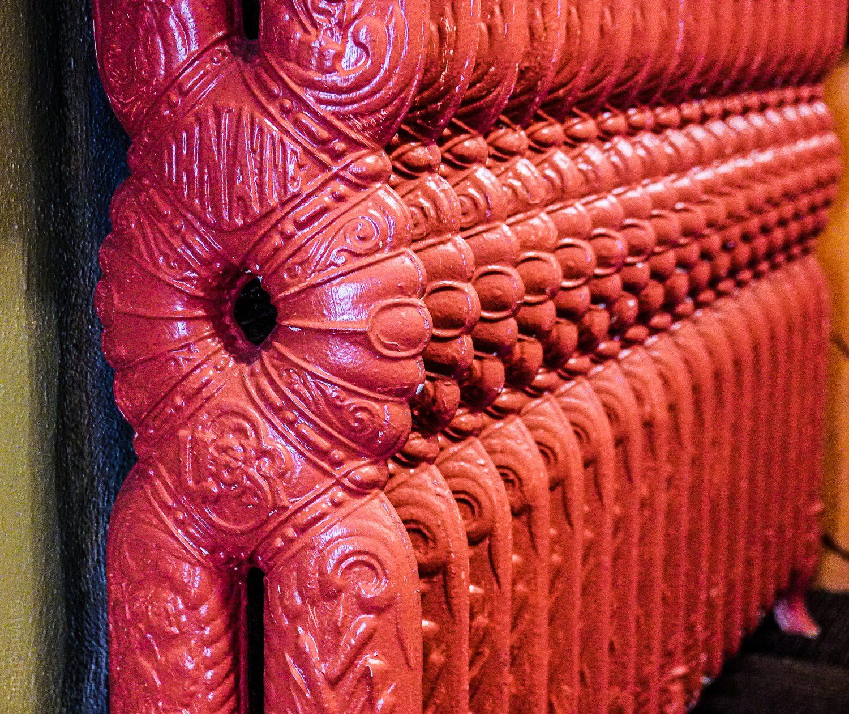 An ornate radiator inside Ligonier Tavern.
