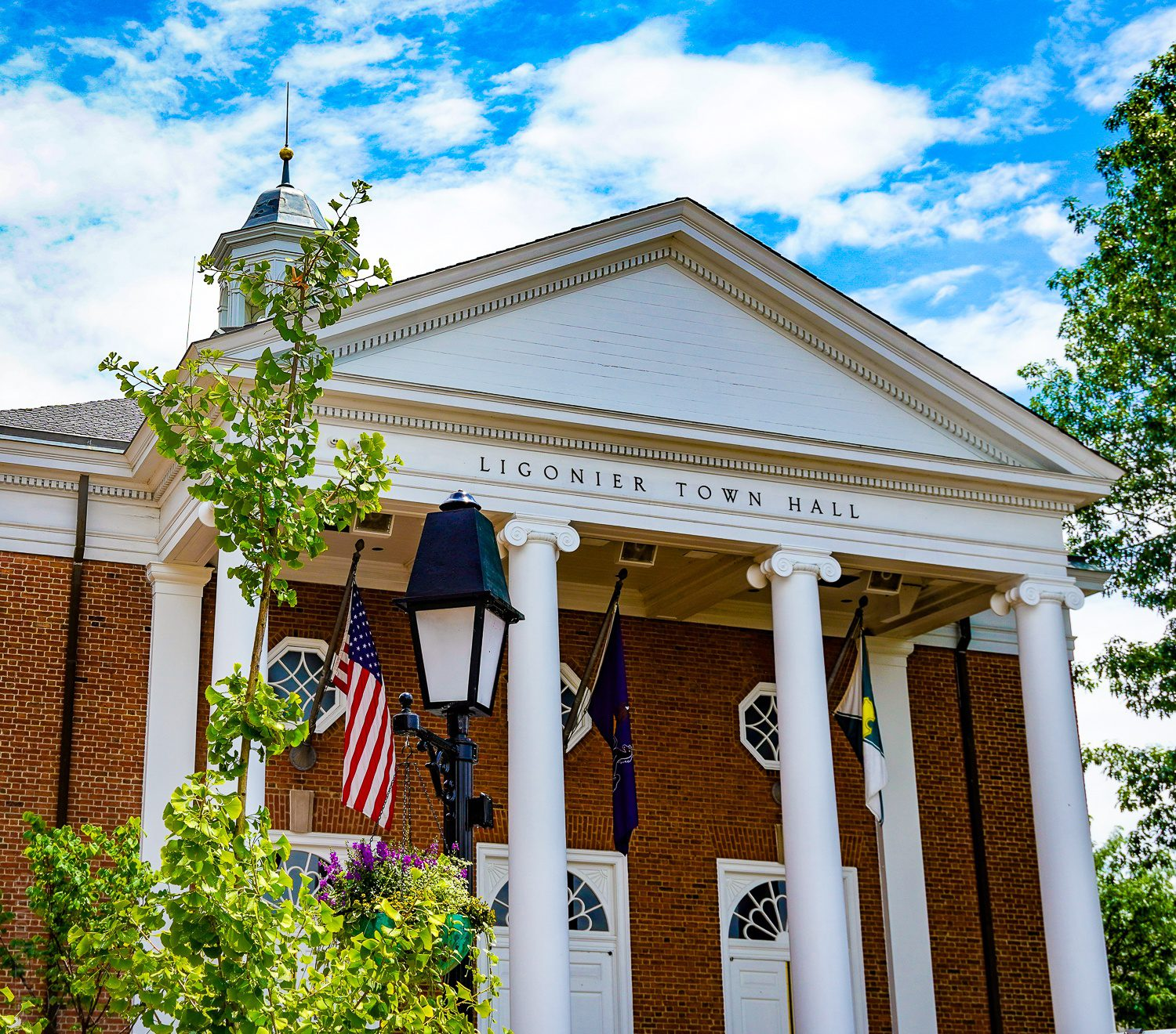 Ligonier Town Hall adds to the picturesque charm.