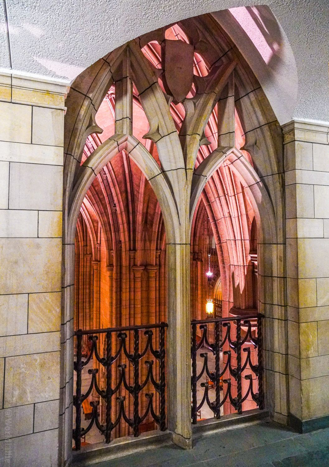 One of the upper balconies in the Cathedral of Learning.