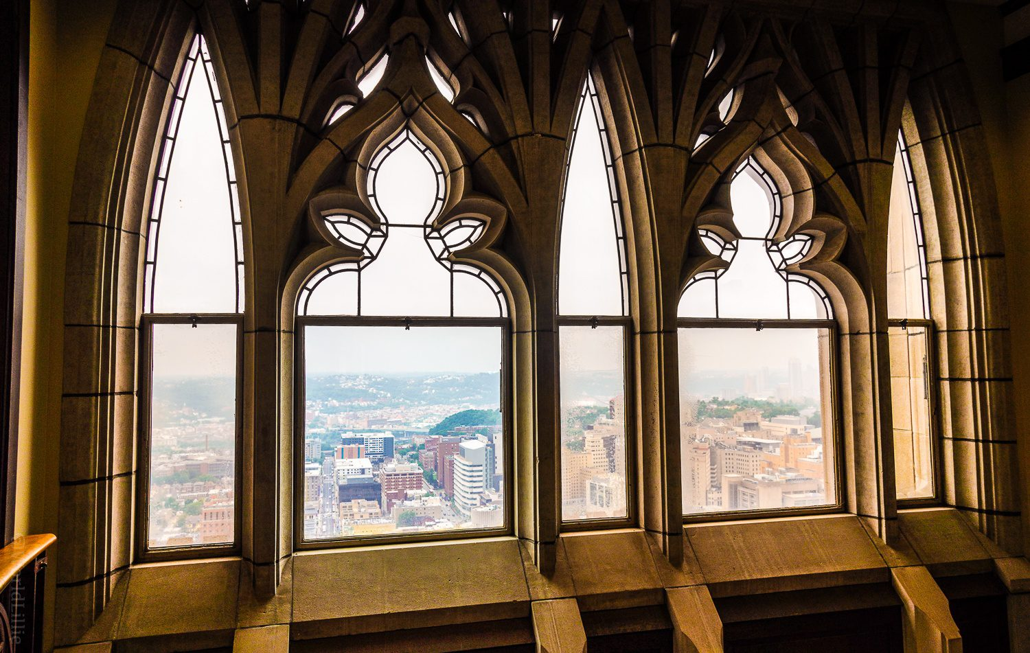 Windows at the upper floors of the Cathedral of Learning.
