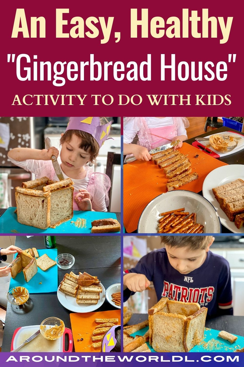 Easy healthy gingerbread house building activity for kids
