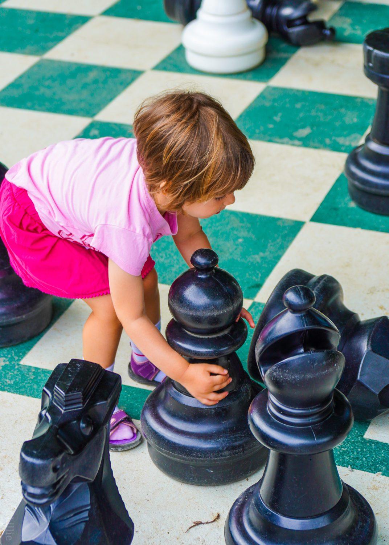 Life-size kid chess outside FunZone 2.0.