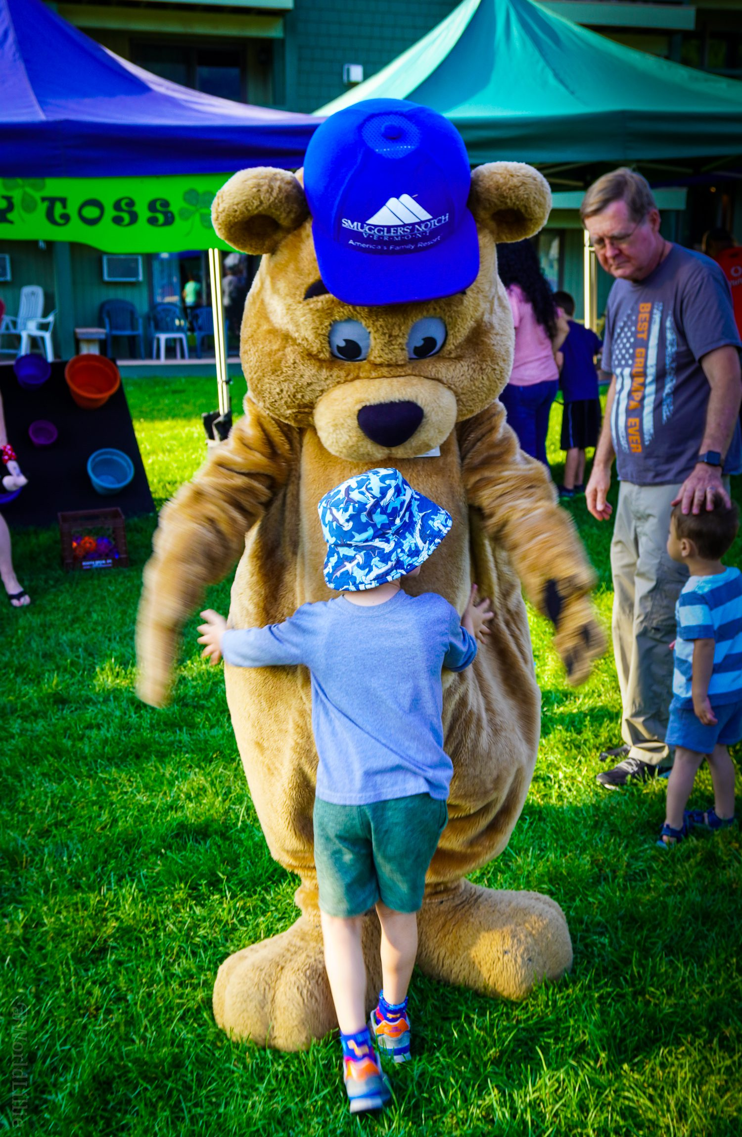 Billy Bob Bear is one of the lovable mascots walking around Smuggs for hugs.
