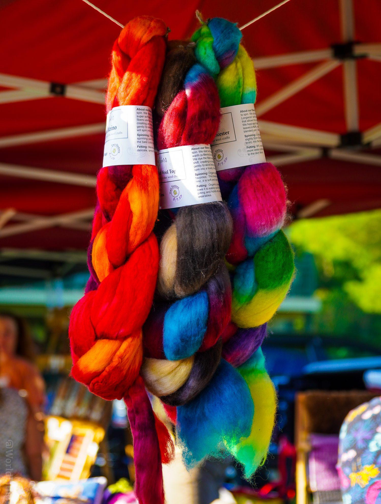Colorful llama wool yarn at the Country Fair.