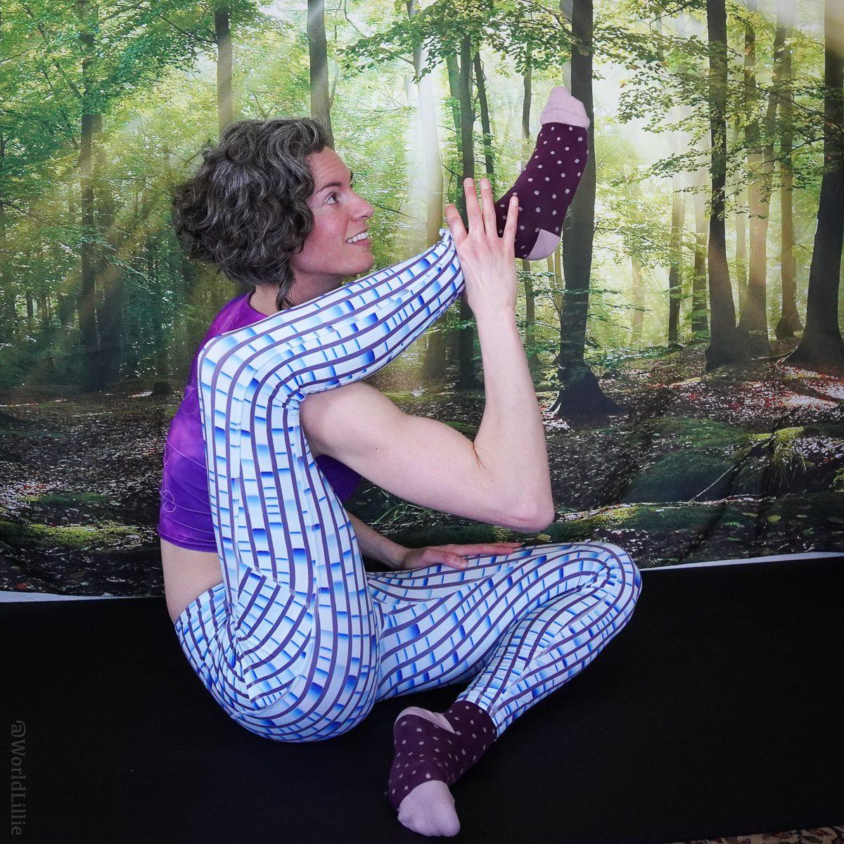 Flexibility with geeky leggings.