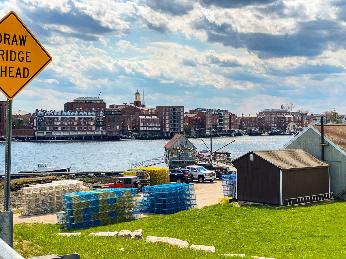 Portsmouth, NH in back, lobster traps in front!