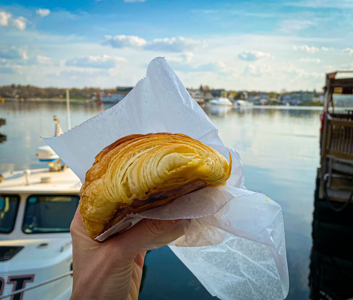 Eating a croissant from Elephantine at the Portsmouth, NH harbor.