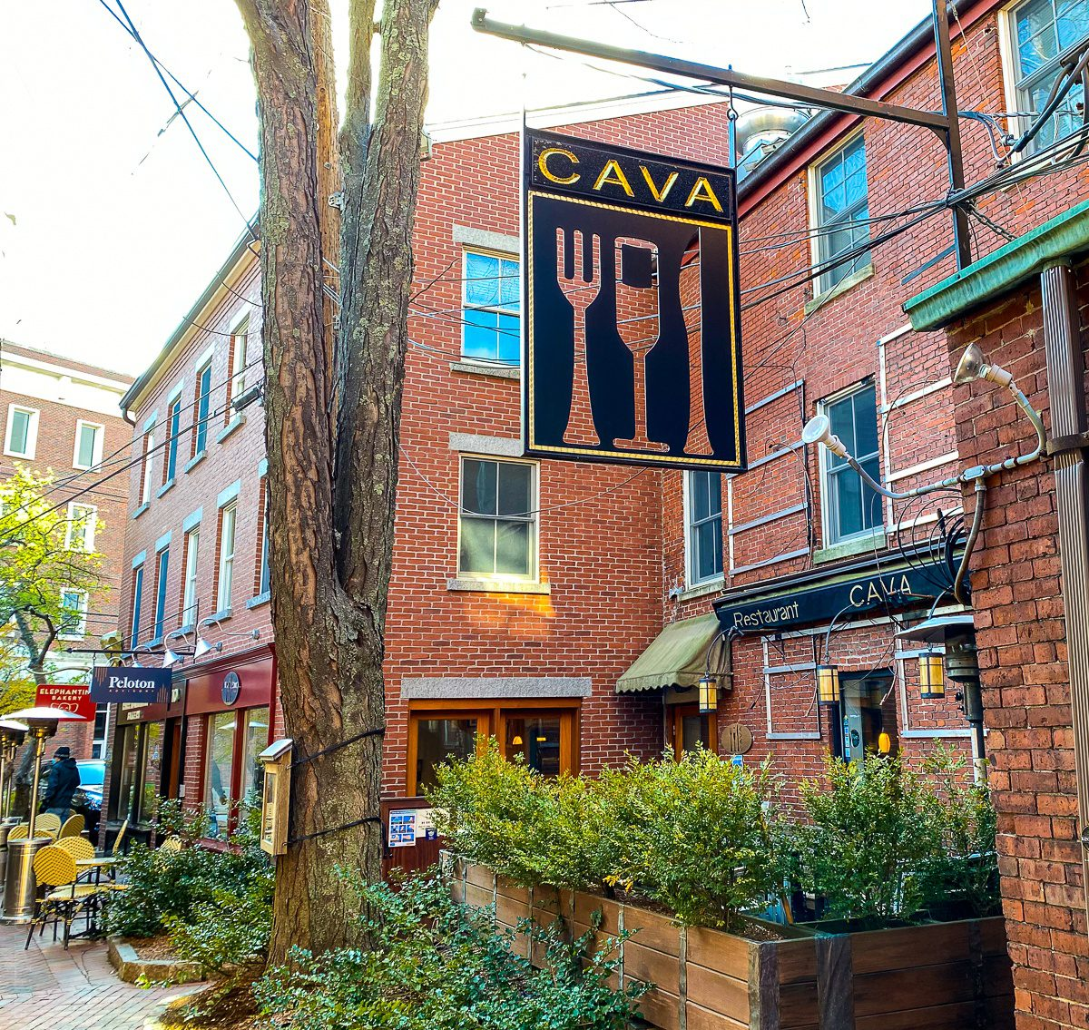 The outdoor dining patio of Cava, Portsmouth, NH.